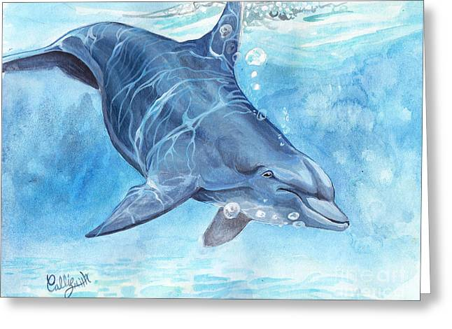 Blue Green Wave Greeting Cards - Going deep Greeting Card by Callie Smith