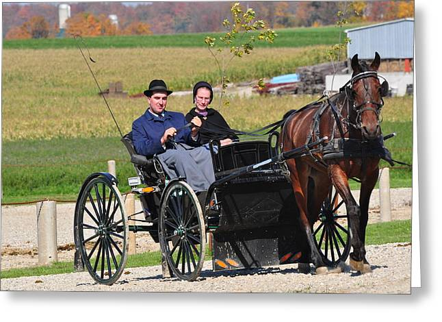 Amish Community Greeting Cards - Going Home Greeting Card by Lisa  DiFruscio