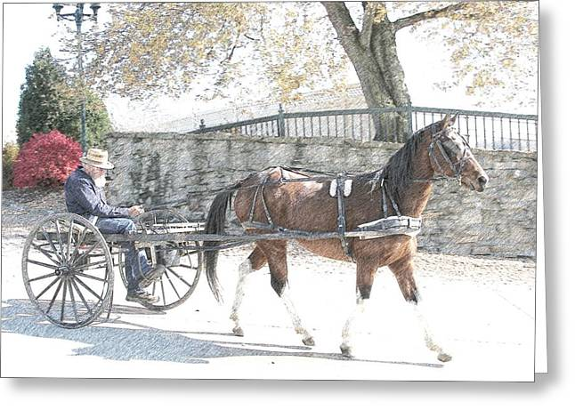 Horse And Cart Digital Art Greeting Cards - Going Home Greeting Card by Western Roundup