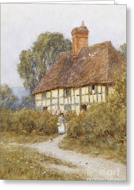 Miscellaneous Greeting Cards - Going Shopping Greeting Card by Helen Allingham