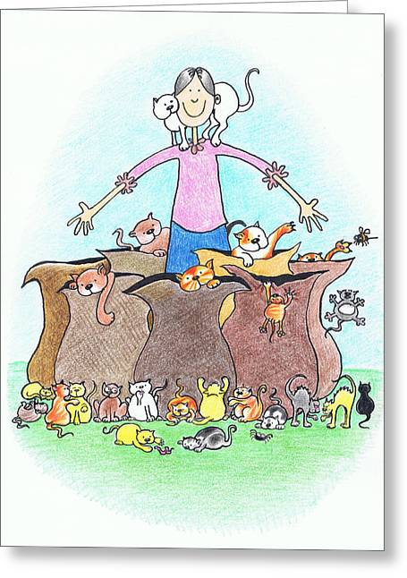 Nursery Rhyme Drawings Greeting Cards - Going T St. Ives Greeting Card by Kerina Strevens
