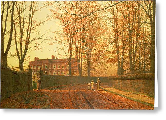 Wall Street Greeting Cards - Going to Church Greeting Card by John Atkinson Grimshaw