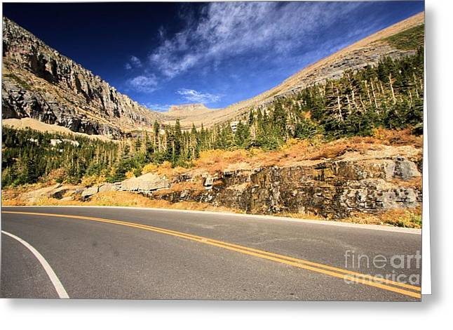 Mountain Road Greeting Cards - Going To The Sun Greeting Card by Adam Jewell