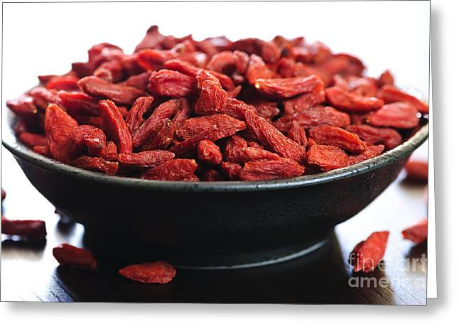 Medicinal Greeting Cards - Goji berries Greeting Card by Elena Elisseeva