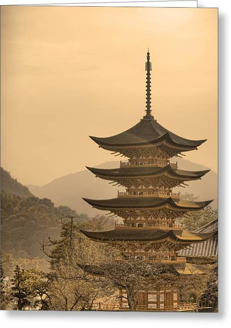 Karen Walzer Greeting Cards - Goju-no-to Pagoda Greeting Card by Karen Walzer