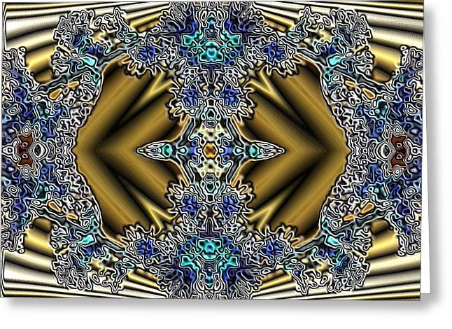 Dream Scape Digital Art Greeting Cards - Gold and Blue Series Number Five Greeting Card by Mark Lopez