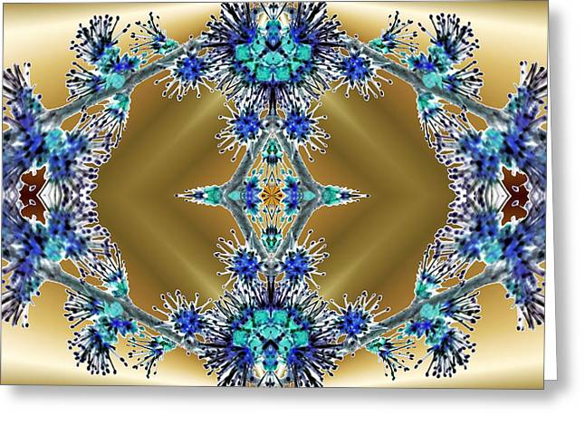Dream Scape Digital Art Greeting Cards - Gold and Blue Series Number Four Greeting Card by Mark Lopez