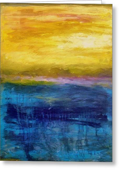 Gold And Pink Sunset Ll Greeting Card by Michelle Calkins