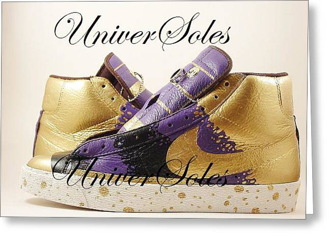Sneaker Mixed Media Greeting Cards - Gold and Purp ID Blazers Greeting Card by Joseph Boyd