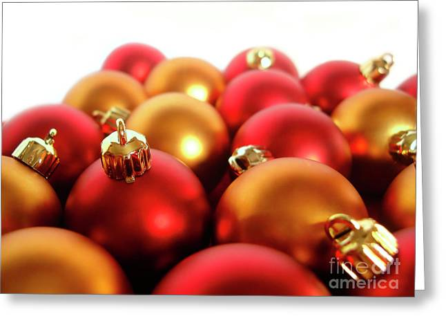 Glass Ball Greeting Cards - Gold and Red Xmas Balls Greeting Card by Carlos Caetano