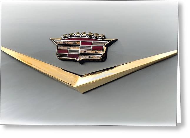 Vintage Hood Ornaments Digital Art Greeting Cards - Gold Badge Cadillac Greeting Card by Douglas Pittman