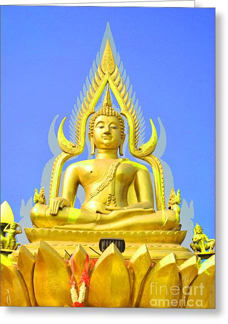 Calm Sculptures Greeting Cards - Gold buddha statue Greeting Card by Somchai Suppalertporn