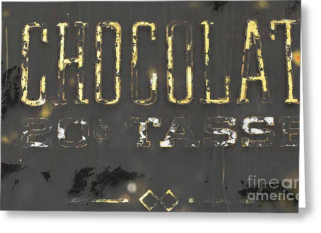 Kitchen Licensing Mixed Media Greeting Cards - Gold Chocolate Sign Greeting Card by Anahi DeCanio