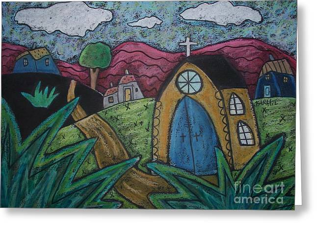 Oil Pastels Pastels Greeting Cards - Gold Church Greeting Card by Karla Gerard