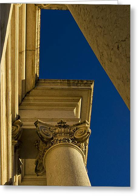 Mafra Greeting Cards - Gold Columns and Blue Sky Greeting Card by Marion McCristall