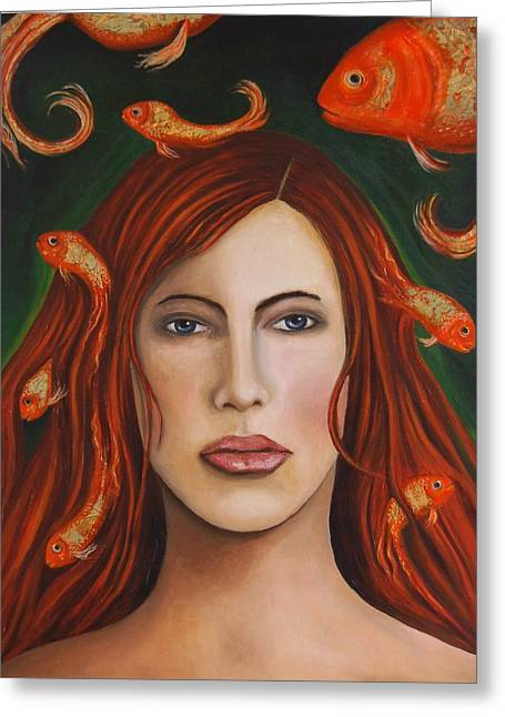 Gold Fish Paintings Greeting Cards - Gold fish 9 Greeting Card by Leah Saulnier The Painting Maniac