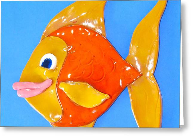 Gold Fish Greeting Card by Kimberly Castor