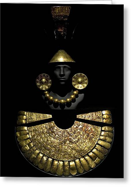 1300s Greeting Cards - Gold Funerary Offering, Chimu Imperial Greeting Card by Tony Camacho