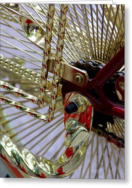 Lowrider Greeting Cards - Gold Low Rider Spokes Greeting Card by Tam Graff