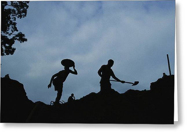 Gold Industry And Production Greeting Cards - Gold Miners At Work In Gabons Minkebe Greeting Card by Michael Nichols
