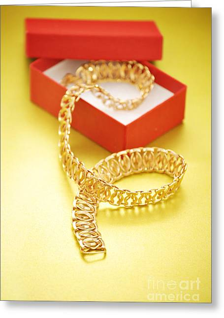 Gold Necklace. Greeting Cards - Gold Necklace Greeting Card by HD Connelly