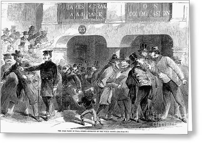 Bank Panic Greeting Cards - Gold Panic, 1863 Greeting Card by Granger