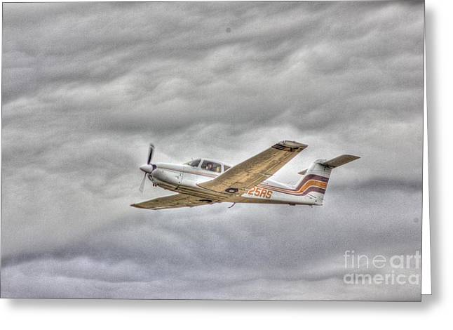 Hdr Photo Greeting Cards - Gold Plane Fighting Cloud Storms Greeting Card by Pictures HDR