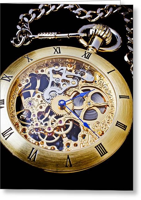 Gadget Greeting Cards - Gold Pocket Watch Greeting Card by Garry Gay