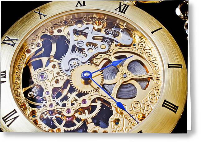 Gold Pocket Watch Greeting Card by Garry Gay
