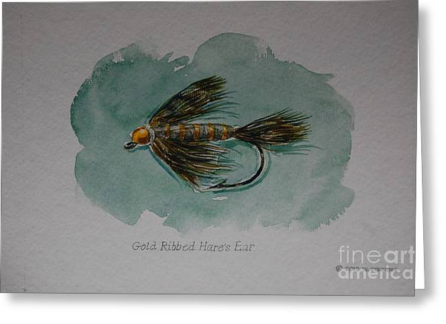 Gold Trout Greeting Cards - Gold-Ribbed Hares Ear Greeting Card by Bill Dinkins