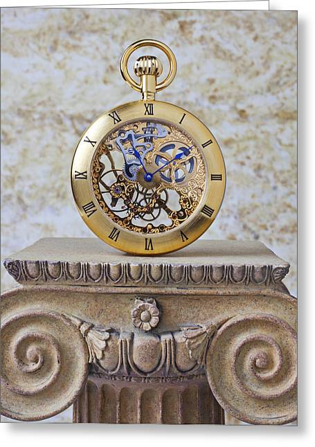 Pocketwatches Greeting Cards - Gold skeleton pocket watch Greeting Card by Garry Gay