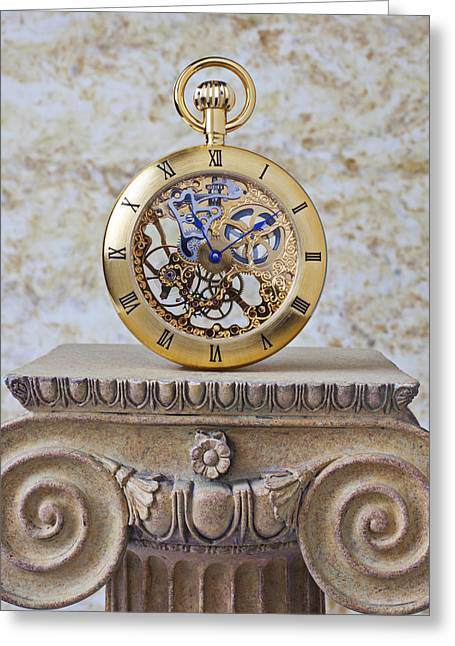 Gold Skeleton Pocket Watch Greeting Card by Garry Gay