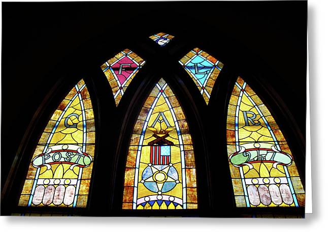 Coloured Glass Greeting Cards - Gold Stained Glass Window Greeting Card by Thomas Woolworth