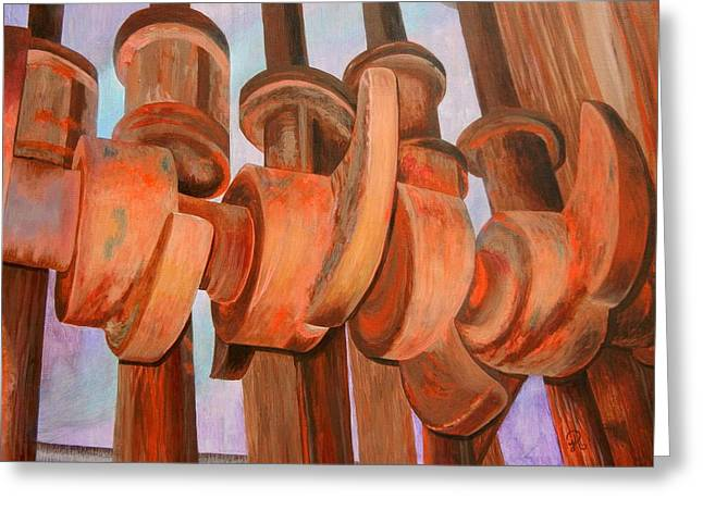 Cog Paintings Greeting Cards - Gold Stamp Mill Greeting Card by JoAnne Rauschkolb