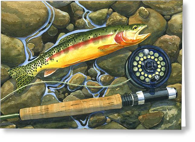 Golden Fish Paintings Greeting Cards - Gold Strike Greeting Card by Mark Jennings