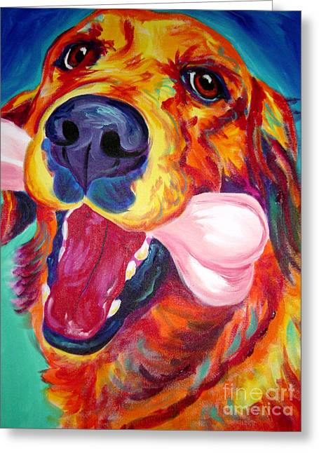 Retriever Prints Greeting Cards - Golden - My Favorite Bone Greeting Card by Alicia VanNoy Call
