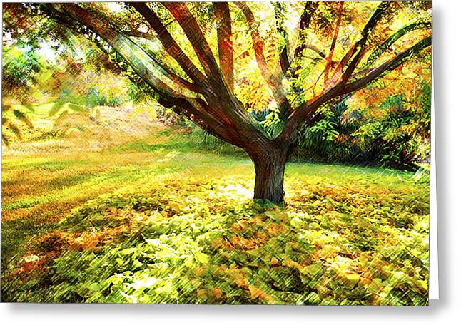 Surreal Landscape Greeting Cards - Golden Afternoon Greeting Card by Linde Townsend