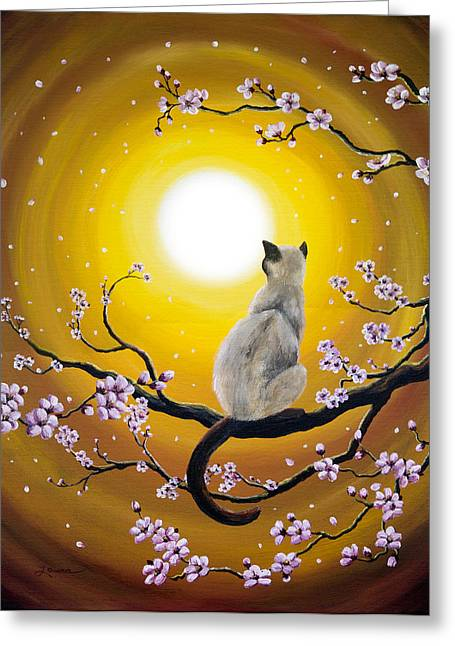 Surreal Cat Landscape Greeting Cards - Golden Afternoon Sakura Greeting Card by Laura Iverson