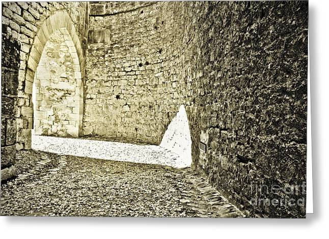 Medieval; Glowing; Sunlight Greeting Cards - Golden Arch Greeting Card by Paul Topp