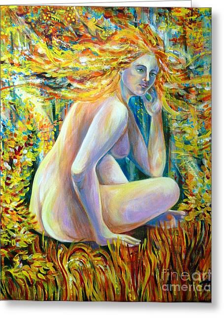 Anna Duyunova Art Greeting Cards - Golden Autumn Greeting Card by Anna  Duyunova