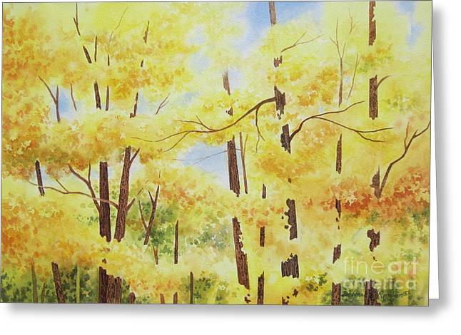 Autumn Landscape Paintings Greeting Cards - Golden Autumn Greeting Card by Deborah Ronglien