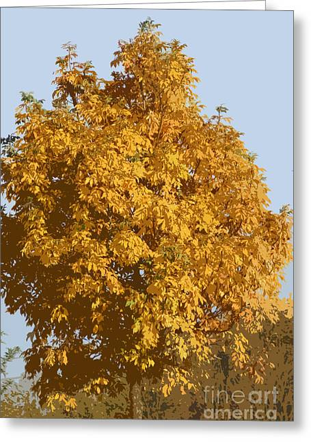 Autumn Art Greeting Cards - Golden branches round Greeting Card by Carol Lynch