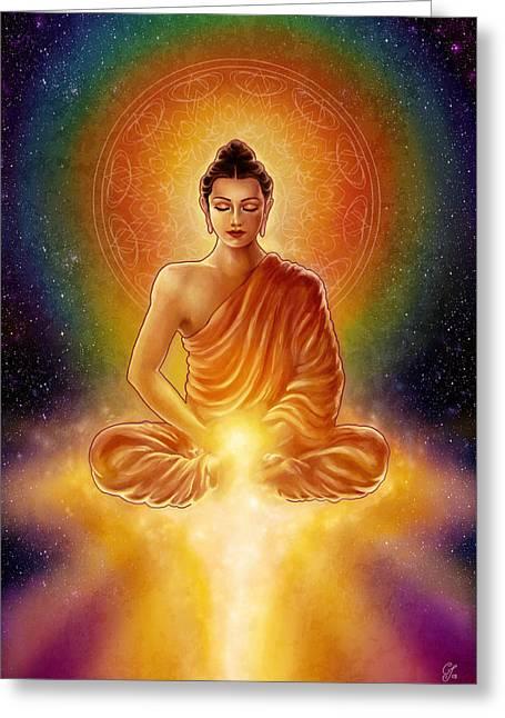 Rainbow Light Greeting Cards - Golden Buddha Blessings Greeting Card by Caroline Jamhour