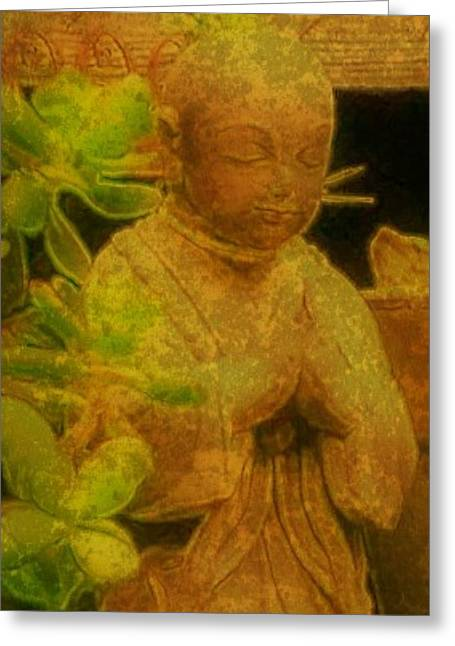 Ohms Greeting Cards - Golden Buddha Greeting Card by Jen White