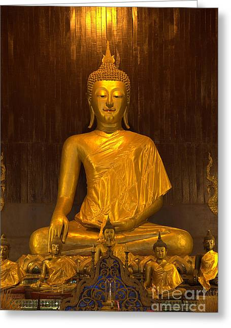 Reverence Greeting Cards - Golden Buddha Statue  Greeting Card by Anek Suwannaphoom