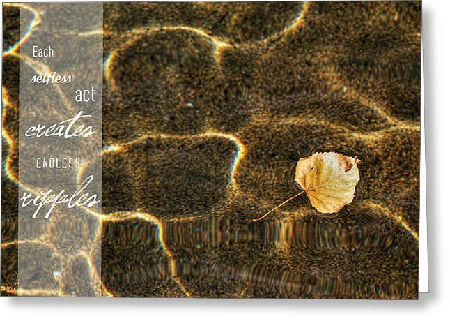 Improving Greeting Cards - Golden Buoyant Autumn Haiku Thank You Card Greeting Card by Lisa Knechtel