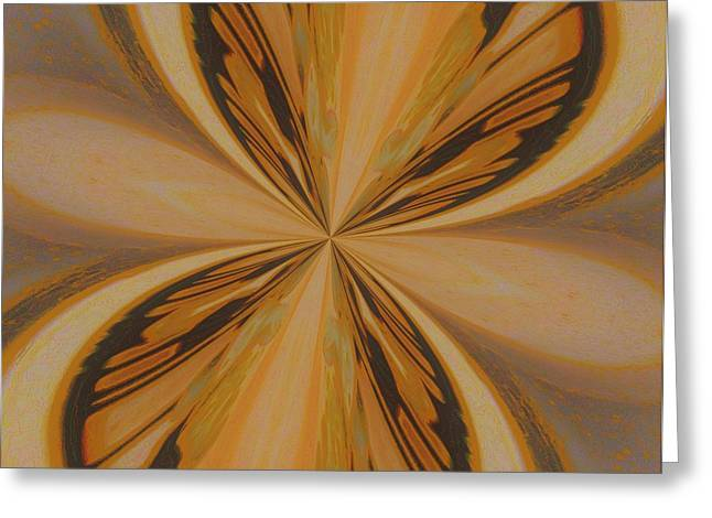 Abstract Butterfly Prints Greeting Cards - Golden Butterfly Greeting Card by Marsha Heiken