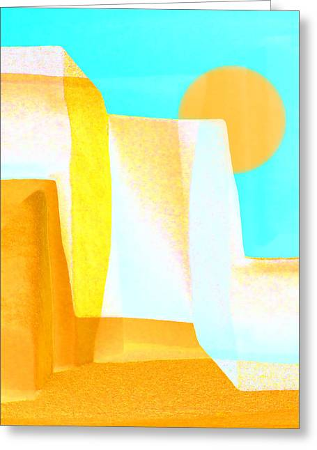 Santa Fe Desert Greeting Cards - Golden Canyons Greeting Card by Carol Leigh