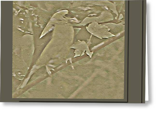 Tree Leaf On Water Greeting Cards - Golden Carved Finch Greeting Card by Debra     Vatalaro