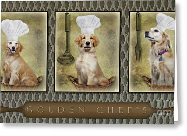 Chef Hat Greeting Cards - Golden Chefs Greeting Card by Susan Candelario
